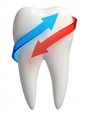 3d white tooth icon - Blue and red arrow