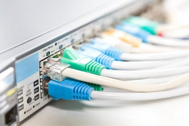 Network cables connected into router, shallow DOF