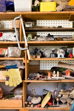 Shelves with various tools, do it yourself
