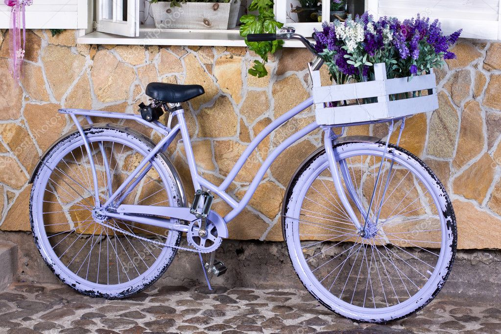 Lavender flowers and violet bicycle