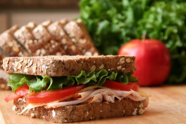 Healthy sandwhich made with whole grain bread, lettuce, tomato, cheese, and roasted chicken slices. stock vector