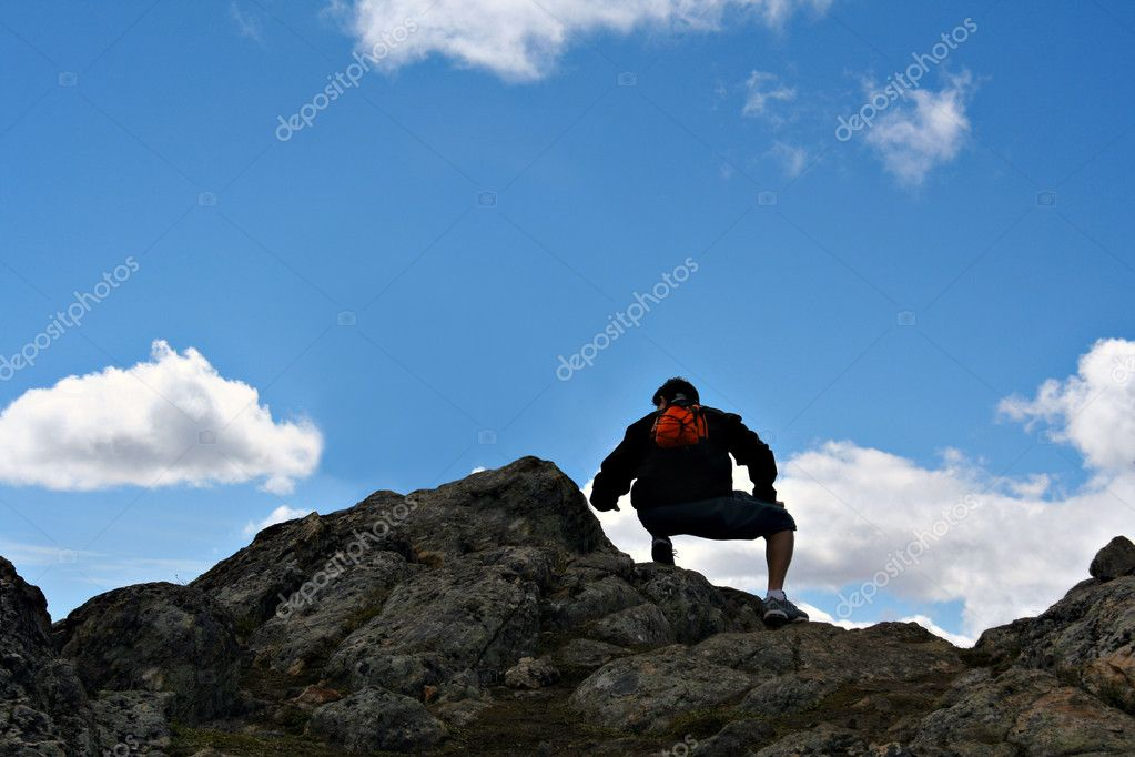 Mountain top hiker