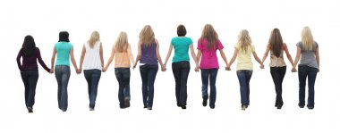 Ten beautiful young women, walking hand in hand. stock vector