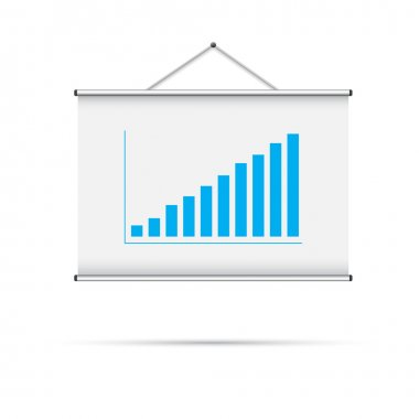 Blank roll up poster with blue graph