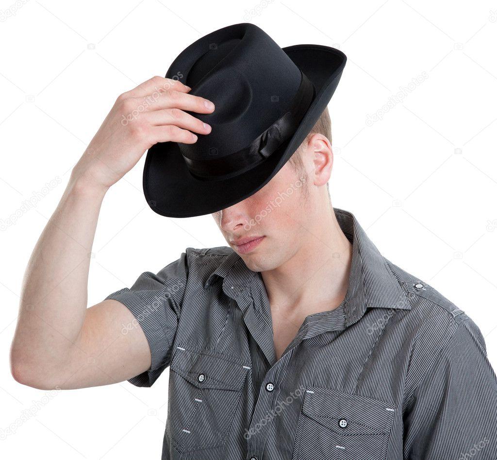 el hombre del sombrero negro — Fotos de Stock © AleksandrNo  11221778 fab1fb0e24b
