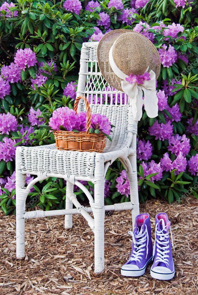 Purple sneakers in garden