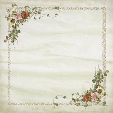 Wedding frame on soft silk