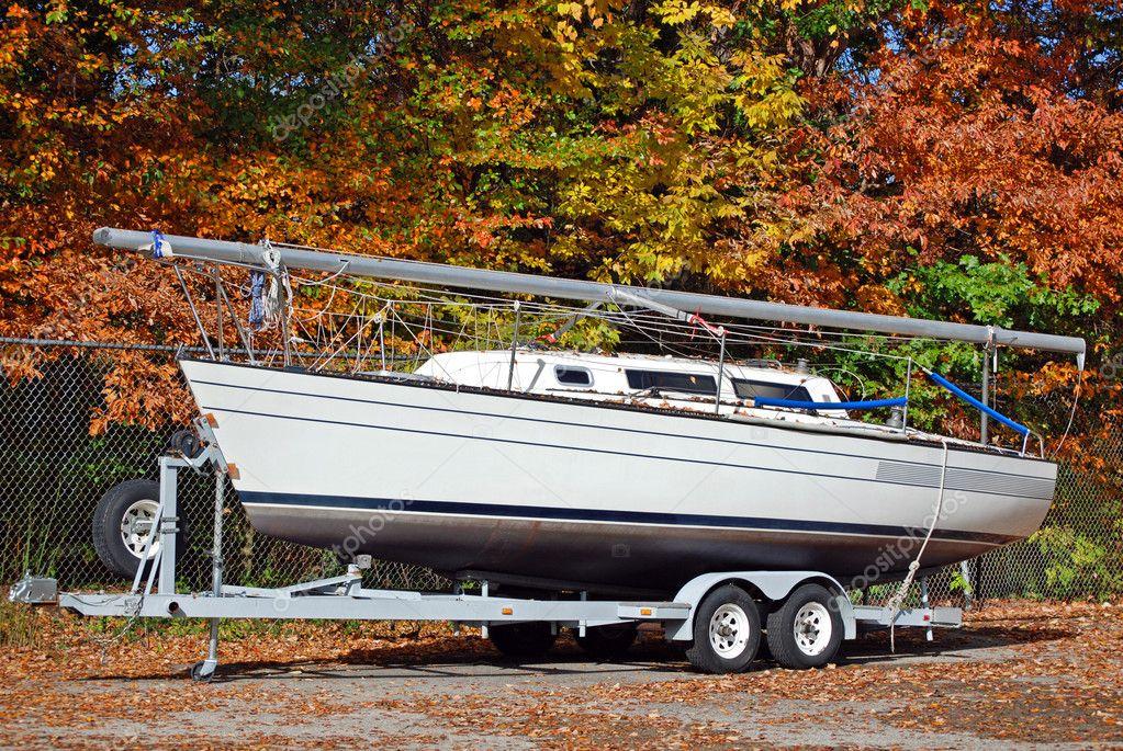Sail boat in autumn
