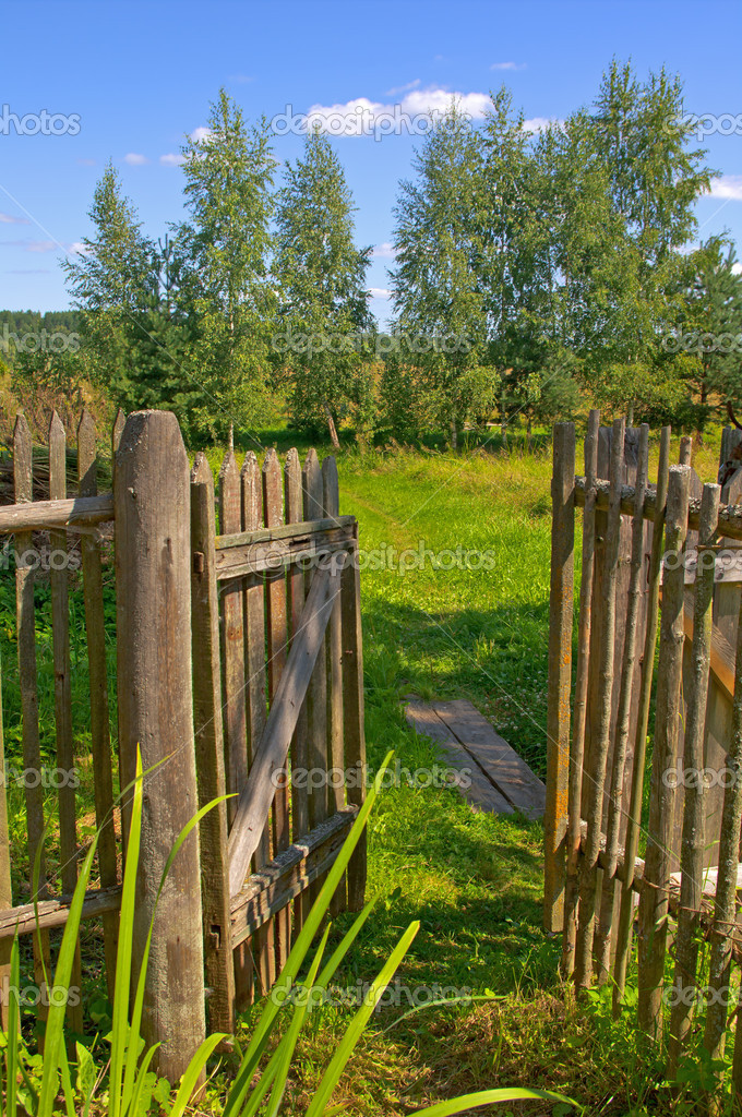Wooden gate to the garden