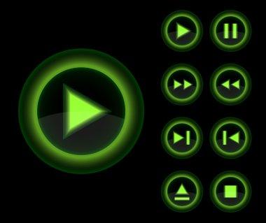 Vector glossy 3d player green buttons set.