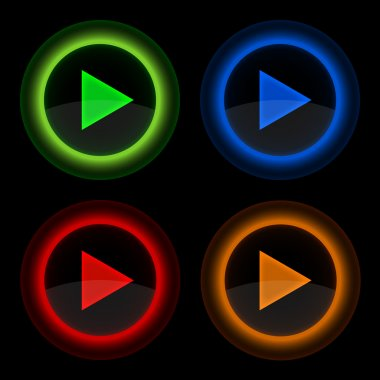 Play glossy round web vector buttons