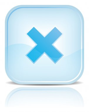 Blue water web button with delete symbol sign.