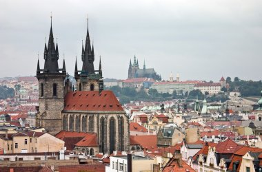 Prague Historical Centre with Rooftops and Prague Castle on the Horizon