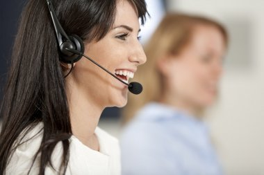 Women in a busy call centre