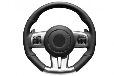 Close up image of modern sports car steering wheel. stock vector