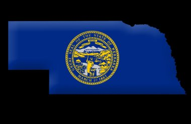 State of Nebraska map, on black background stock vector