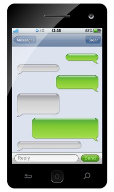 Smartphone sms chat template with copy space. stock vector