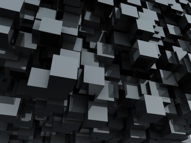 Black glossy cubes abstract background.