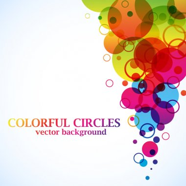 Abstract spectrum circles background with copy space.