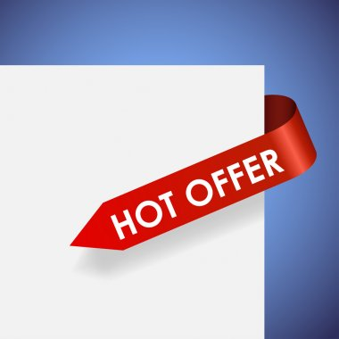 Hot offer red paper label vector illustration.