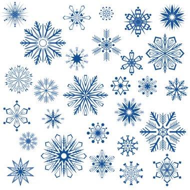 Snowflake shapes isolated on white