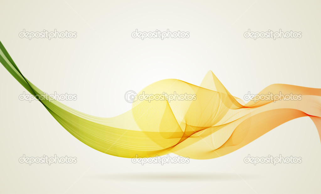Green and yellow smoky wave vector background with copy space.