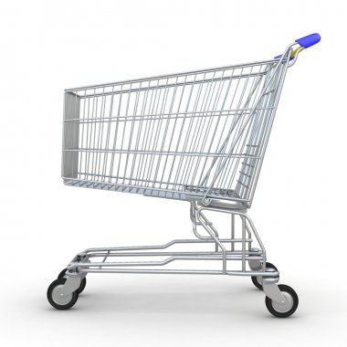 3d shopping cart isolated on white background stock vector