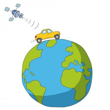 Car and Satellite