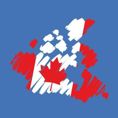 Map flag Canada