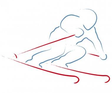 Stylized skier