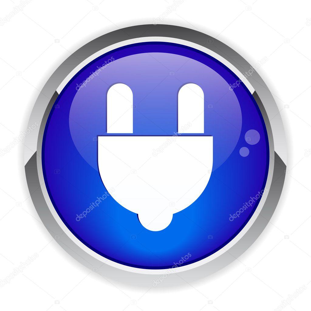 Bouton web prise electric power icon.