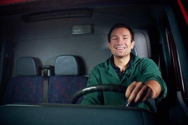 Happy Driver holding wheel