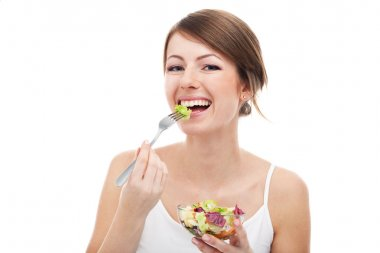Woman eat salad on diet. Smiling. Healthy food. Isolated on white stock vector