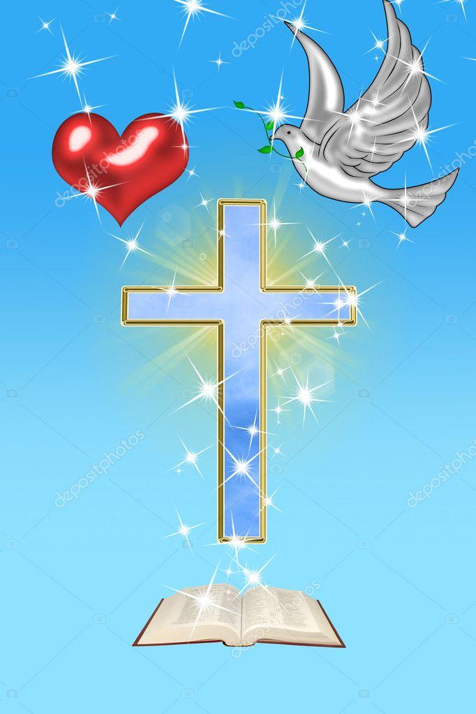 картинка голубь на кресте красочной пышной