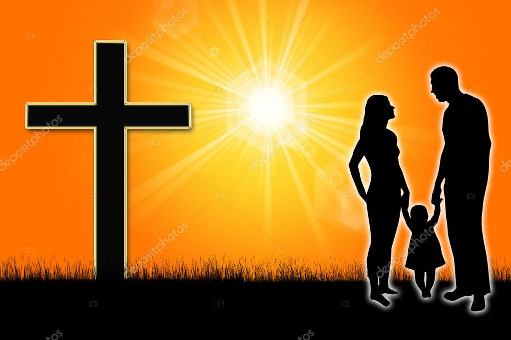 Silueta De Una Familia Con Una Cruz