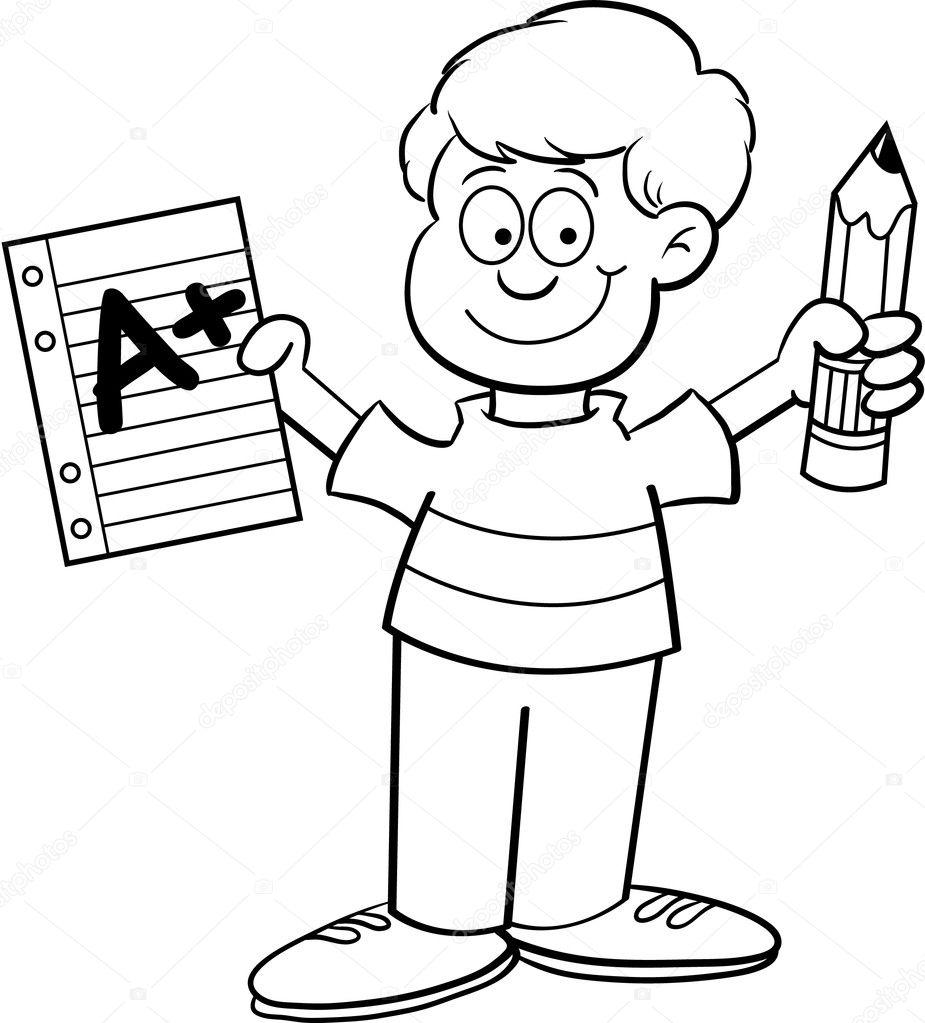 Ilustración De Dibujos Animados De Un Niño Con Un Papel Y Un Lápiz