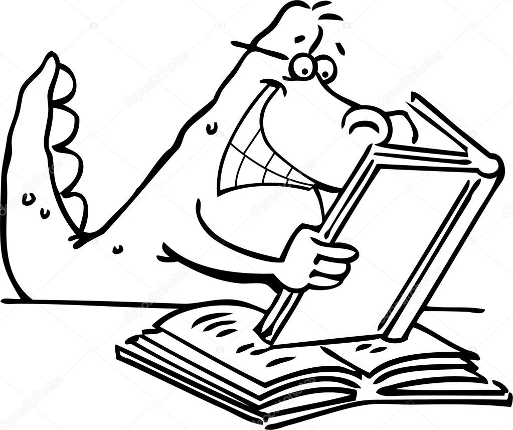 Book reading coloring page - Cartoon Illustration Of A Dinosaur Reading A Book For Coloring Page Stock Illustration