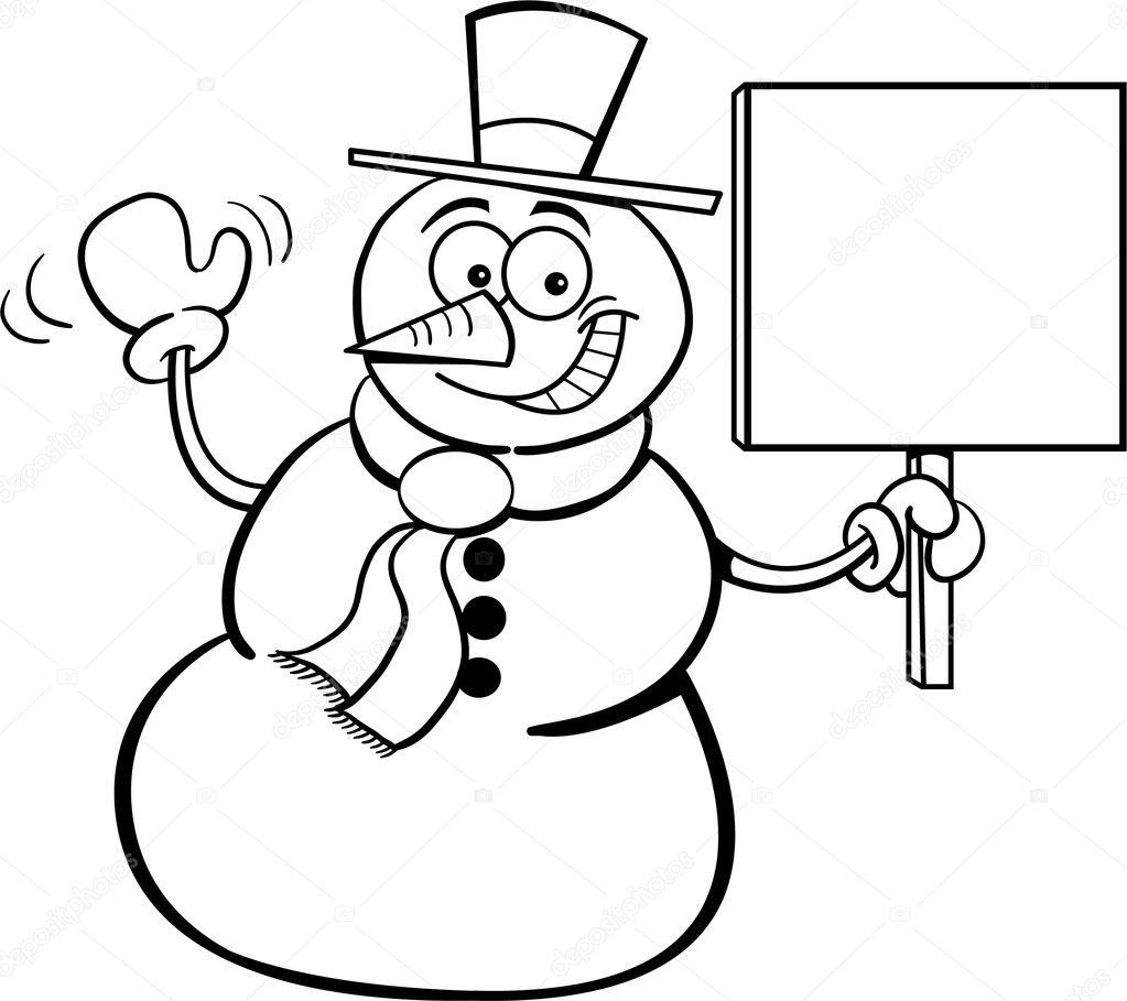 Ilustración de un muñeco de nieve con un aviso de página para ...