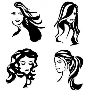 Woman hair silhouettes