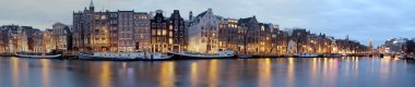 Panoramic view from Amsterdam in the Netherlands at twilight