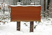 vývěsní štít v lese v zimě