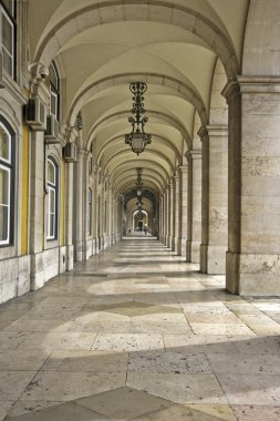 Commerce Square 18th century Arcades in Lisbon, Portugal