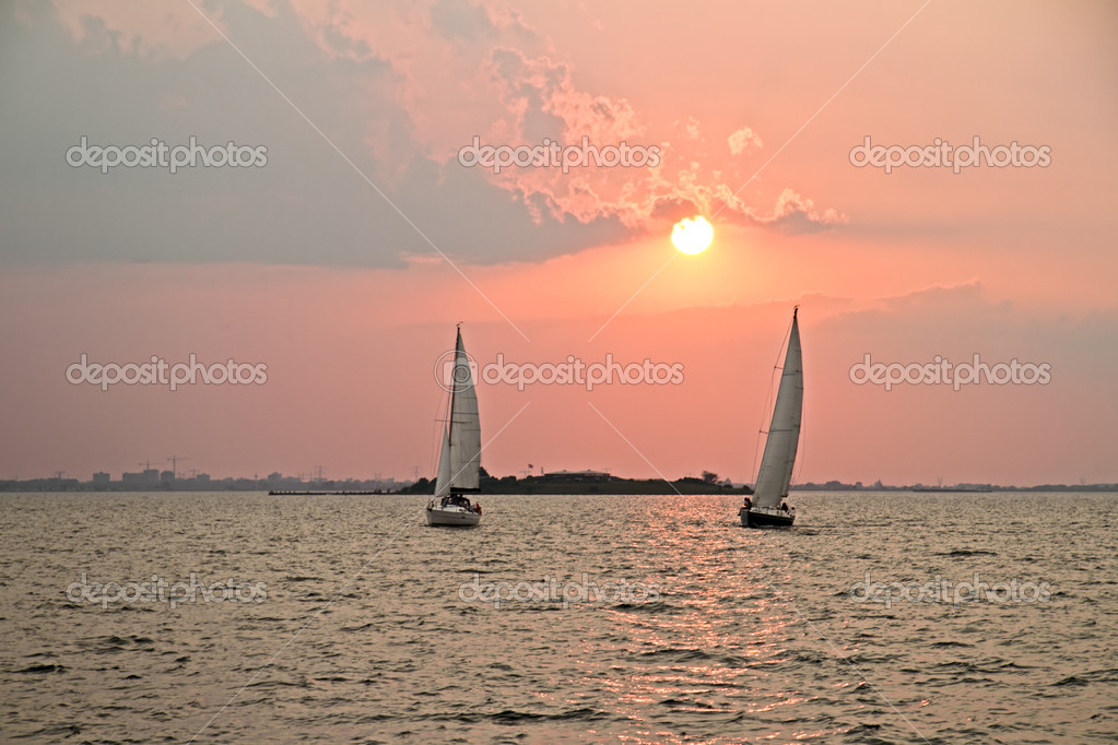 Sailing in the Netherlands at sunset
