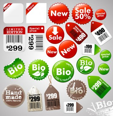 Sale icons and different product labels package