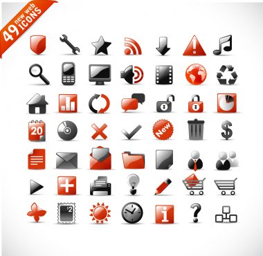 New set of 49 glossy web icons and design elements in orange and gray