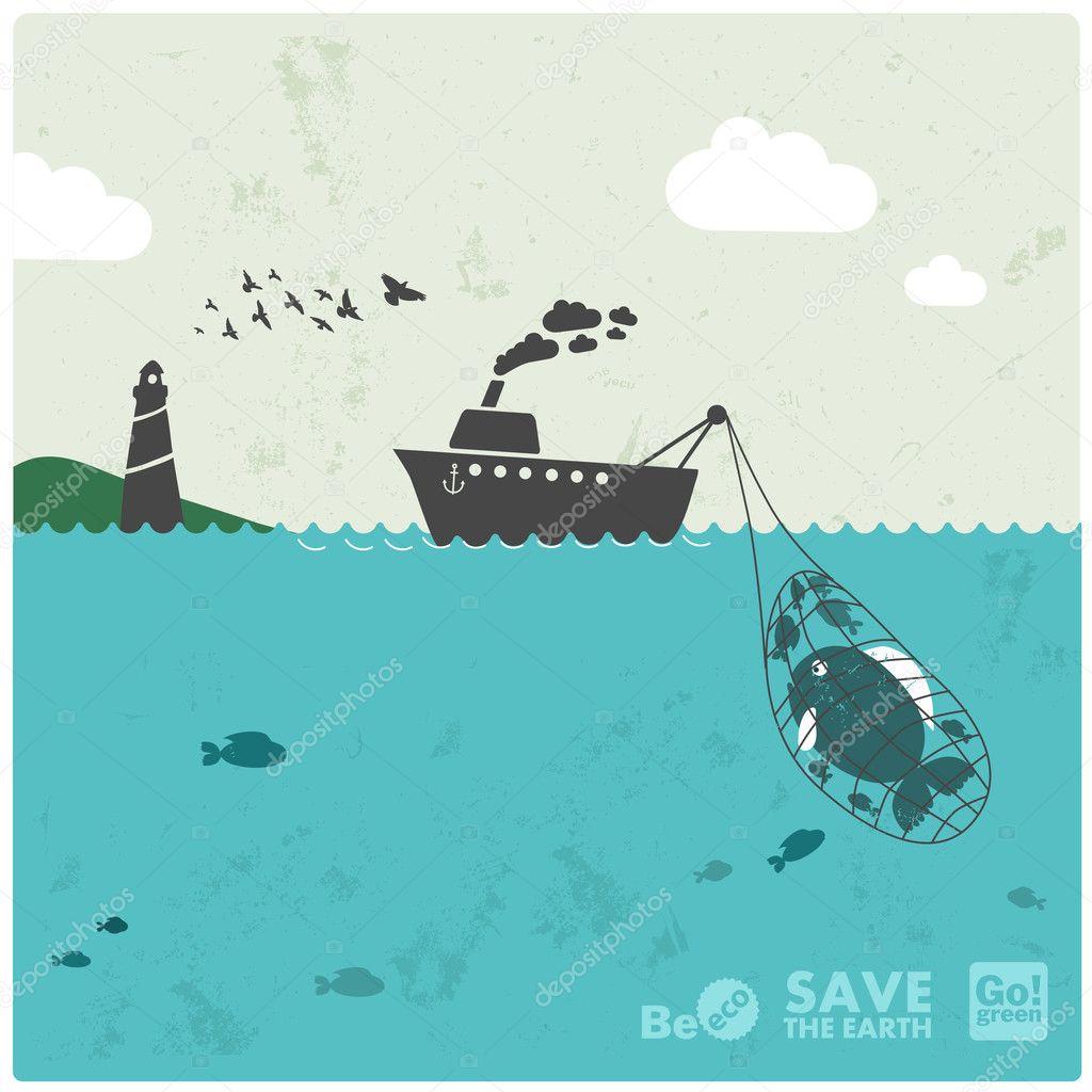 Fishing industry background - eco balance