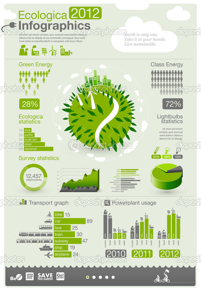 Ecology info graphics collection - ENERGY industry - charts, symbols, graphic elements