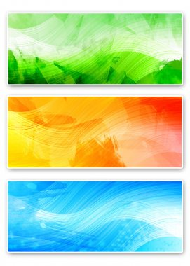 Three abstract horizontal banners
