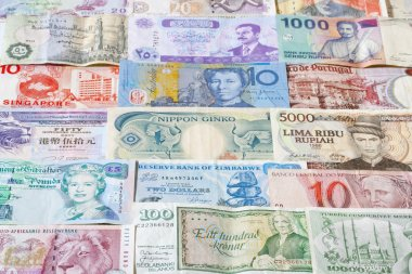 Banknotes of different countries