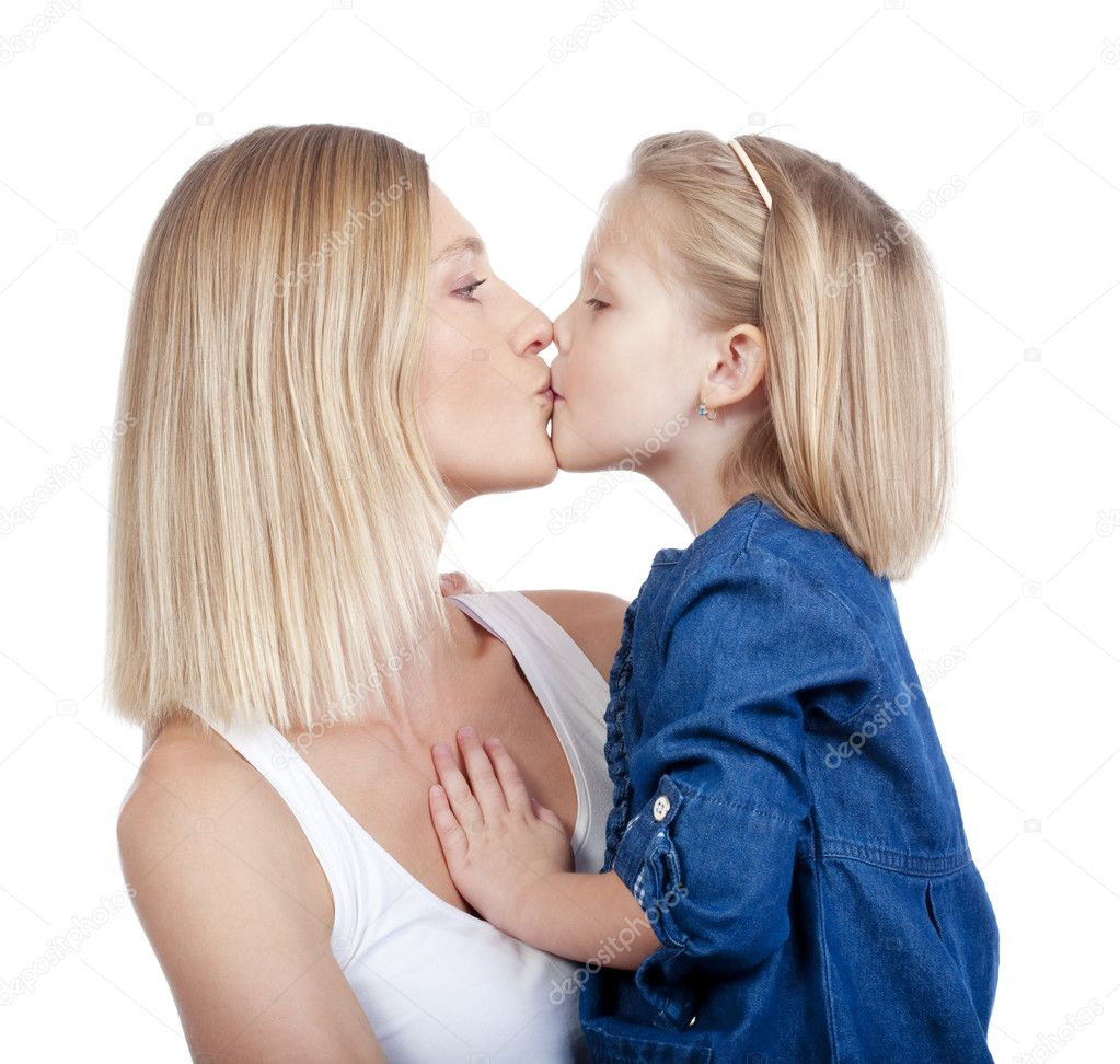 Real mom and daughter kissing